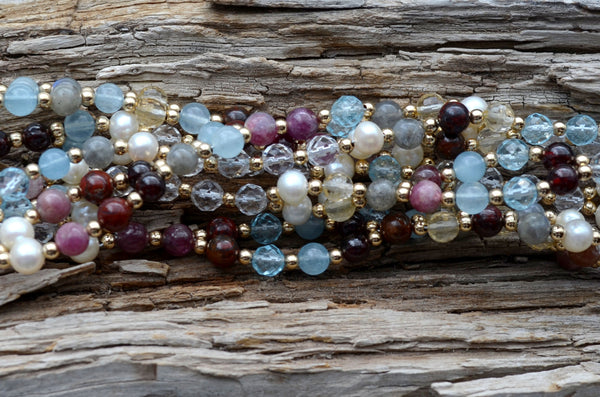 6mm Navratna: cool tones - Aquamarine, Red Tourmaline, Blue Topaz etc. &  Gold Filled
