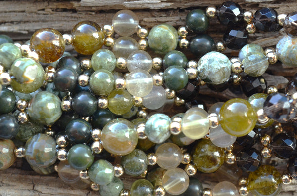 6mm Green Garnet, Rhyolite, Yellow Fluorite, Jasper & Smoky Quartz with Gold-Filled