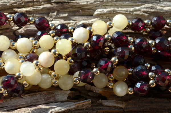 6mm Garnet Faceted and Calcite with Gold Filled
