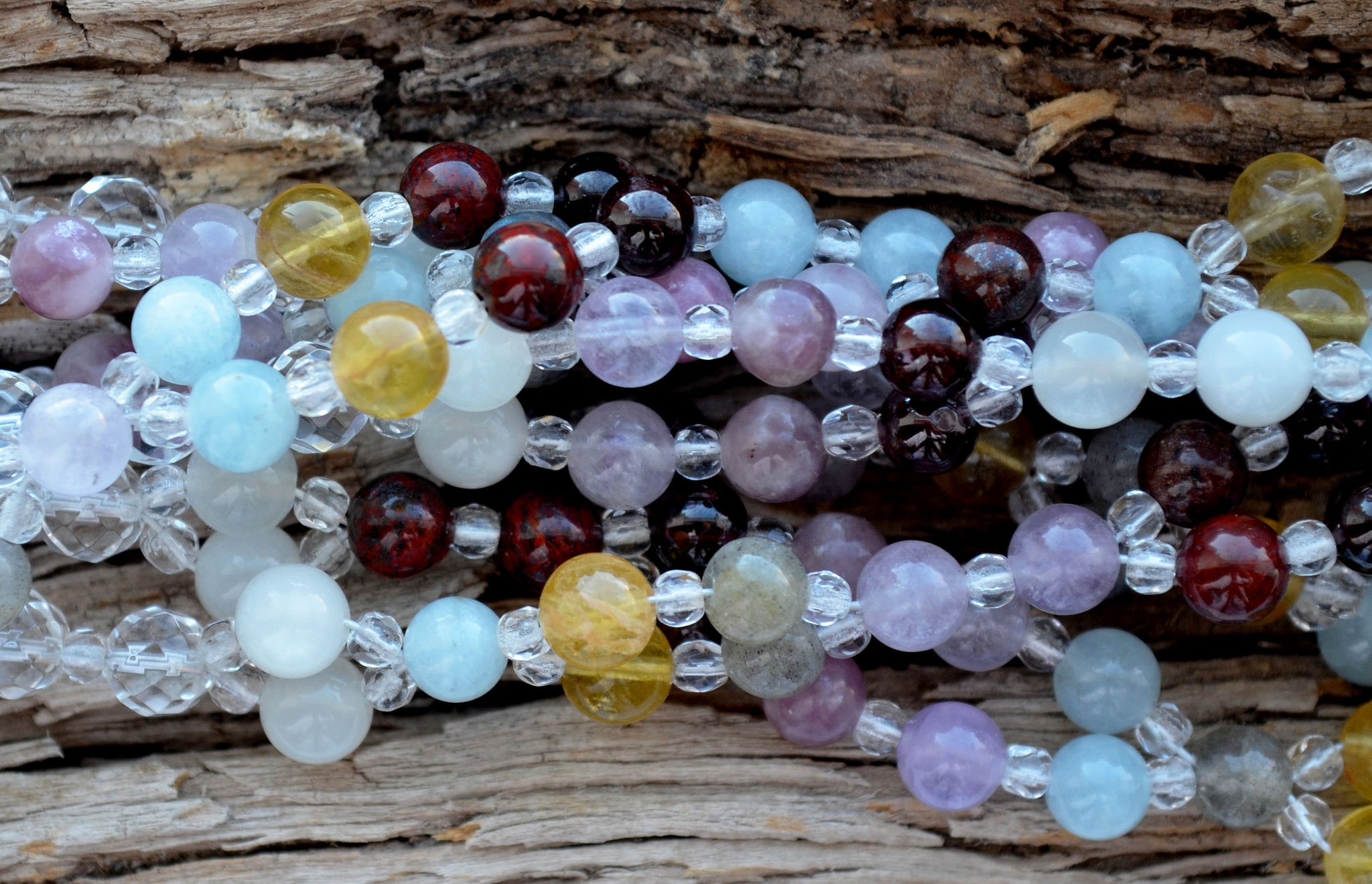 6mm Navratna: cool tones -  Lepidolite, Moonstone, Citrine, Garnet, Aquamarine etc  & Crystal