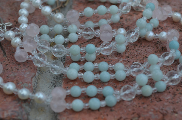 6mm Amazonite, 8mm Quartz, Pearl, 8mm Rose Quartz, Fire Polished Crystal