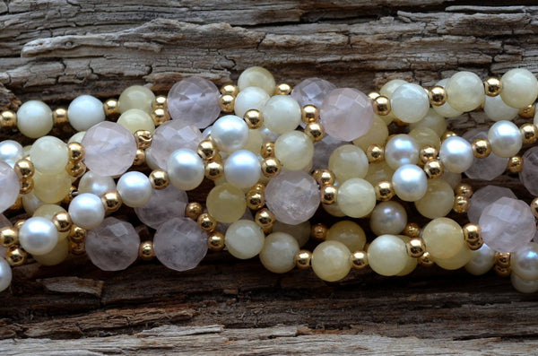 8mm Rose Quartz, 6mm Calcite, Pearl and Gold-Filled