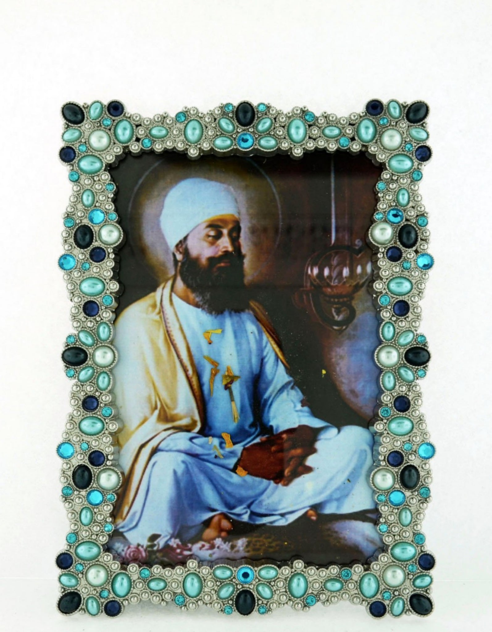 "Tall 5"" x 6 1/2"" Jewel Encrusted Framed Guru Teg Bahadur"