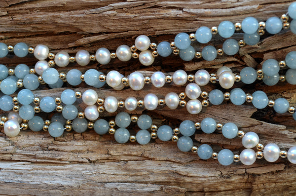 6mm Aquamarine & Pearl with Gold-Fill