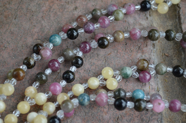 Multicolored Tourmaline, Yellow Calcite, Crystal  ~ Tantric Necklace