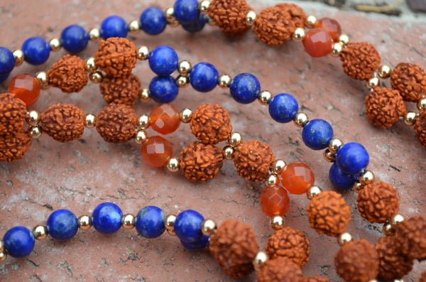 8mm Rudraksha, 6mm Carnelian, Lapis Lazuli, Gold-Filled