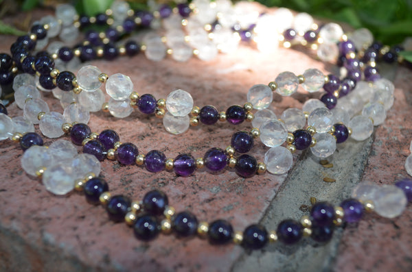 6mm Amethyst, 8mm Rose Quartz, Gold Fill Spacers~ Tantric Necklace