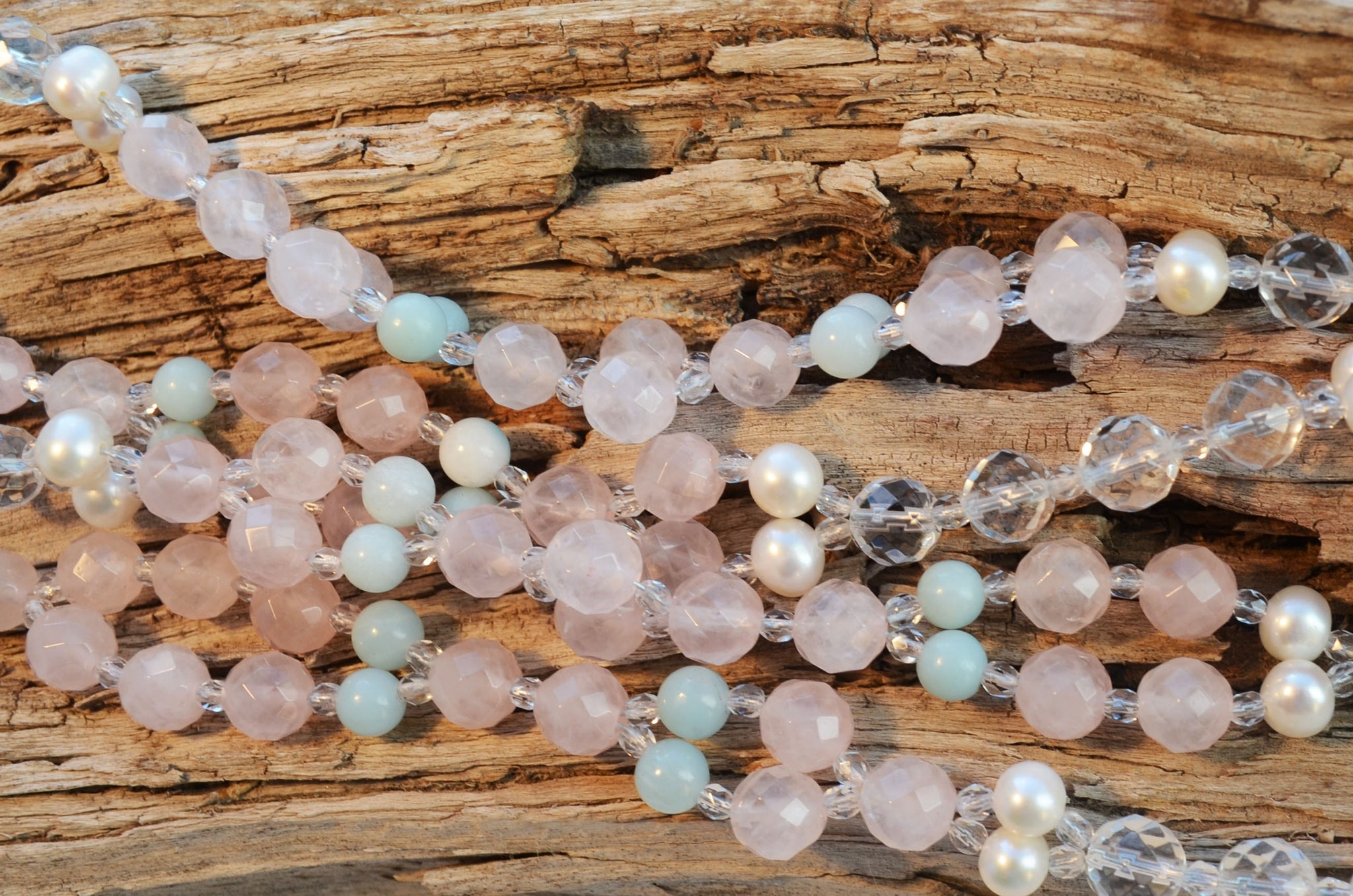 8mm Rose Quartz, 6mm Amazonite, 8mm Quartz & Pearl with Czech Crystal