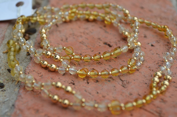 Yellow Fluorite, Faceted Clear Quartz with Gold Fill spacers ~ Tantric Necklace