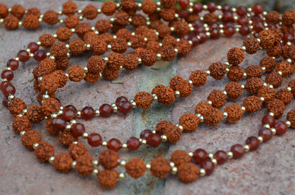 8mm Rudraksha, 6mm Carnelian, Gold-Filled