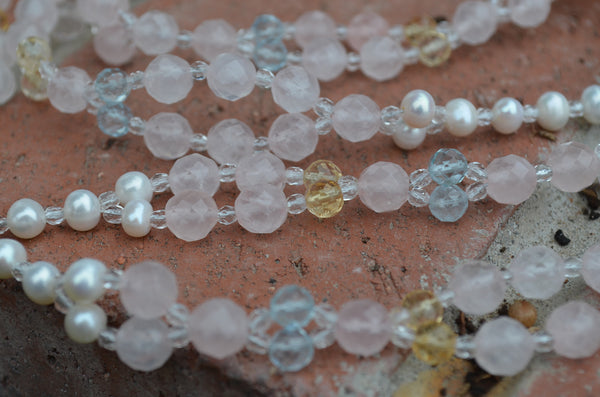 Citrine, Blue Topaz, Rose Quartz, Genuine Pearl Tantric Necklace