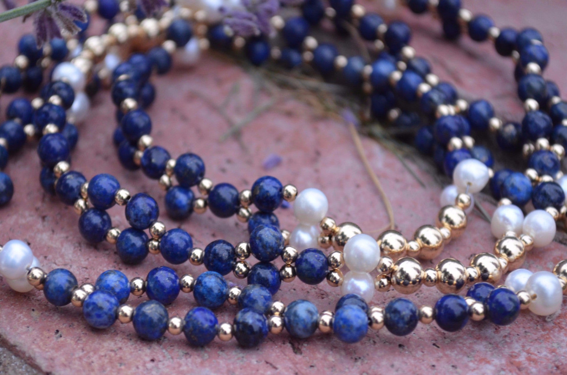 6mm Lapis Lazuli, Pearl, Gold-Filled