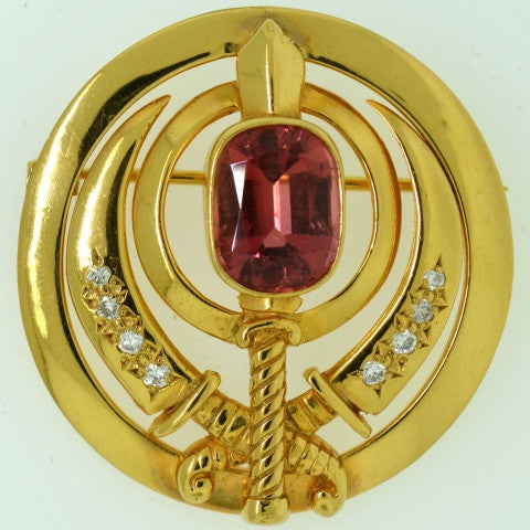 Adi Shakti Pin/Pendant, Pink Tourmaline with Diamonds, Gold-Filled