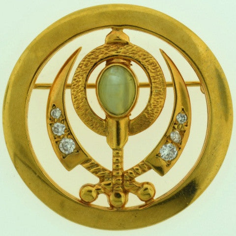 Adi Shakti Pin/Pendant, Cat's Eye with Diamonds, Gold-Filled