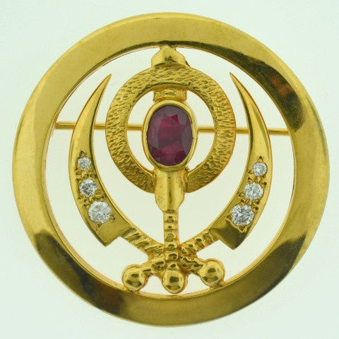 Adi Shakti Pin/Pendant Ruby with Diamonds, Gold-Filled