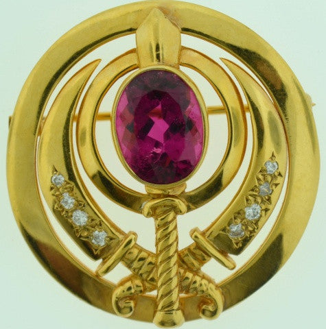 Adi Shakti Pin/Pendant Rubellite Tourmaline with Diamonds, Gold-Filled