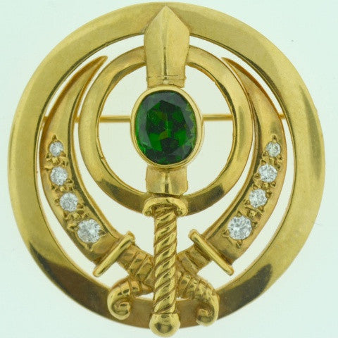 Adi Shakti Pin/Pendant Chrome Tourmaline with Diamonds, Gold-Filled