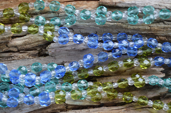 6mm Blue, Teal & Green Fire Polished Czech Crystal