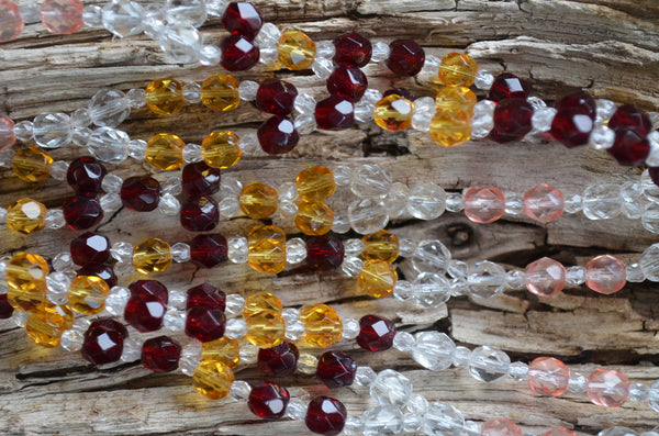 6mm Red, Yellow & Clear Fire Polished Czech Crystal