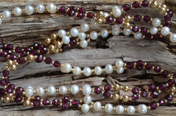 4mm Garnet, Pearl & Gold-Fill