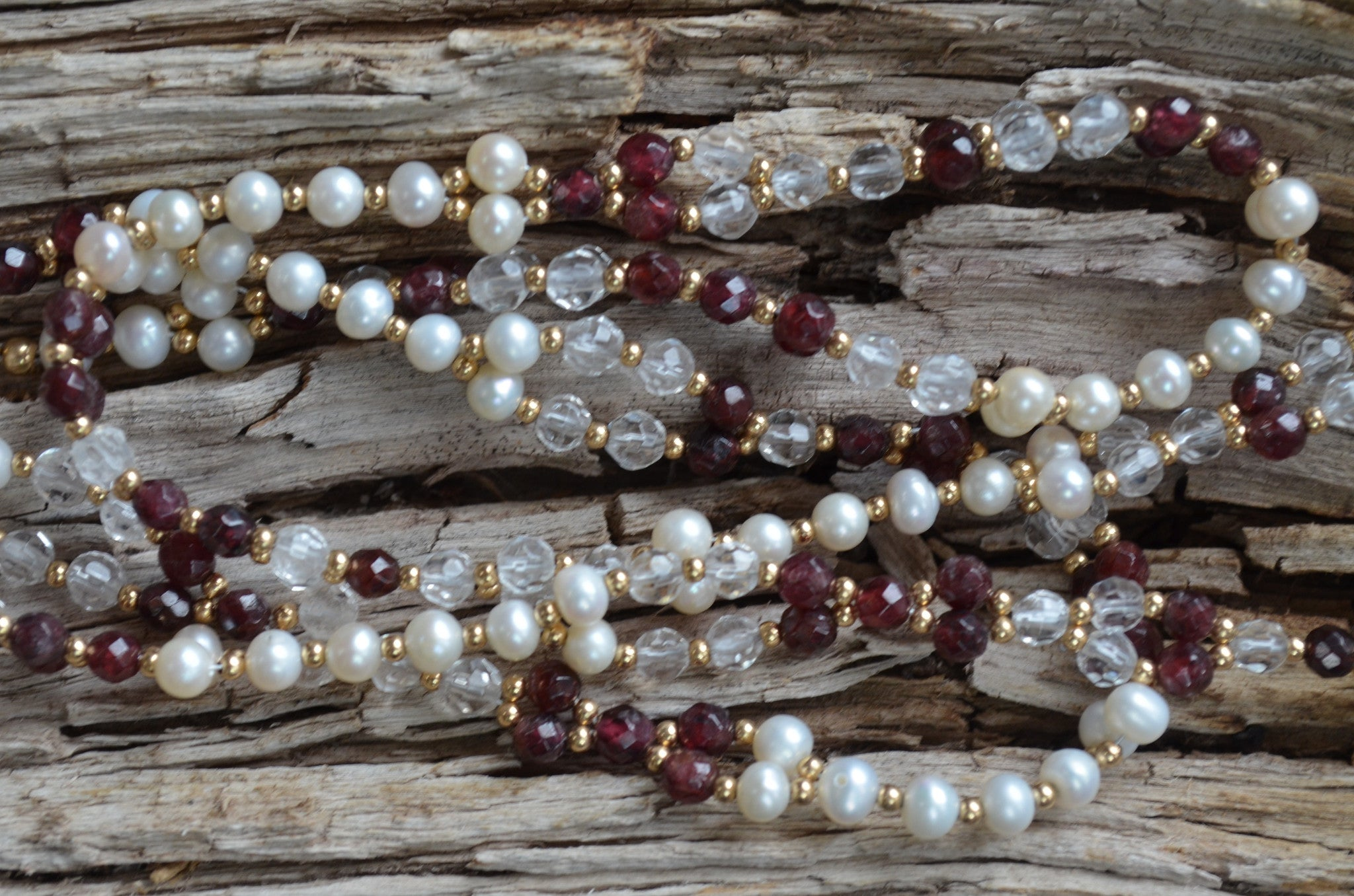 4mm Garnet, Quartz & Pearl with Gold-Fill