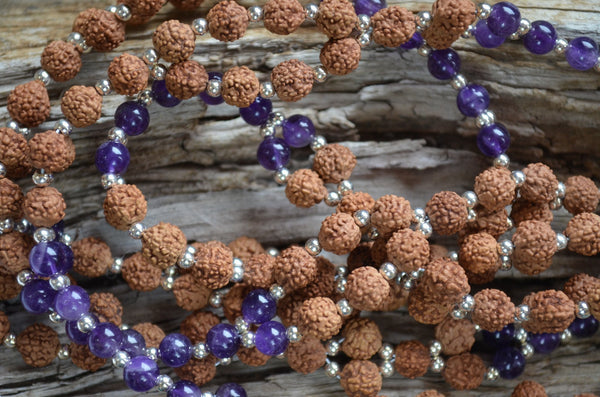 8mm Rudraksha, 6mm Amethyst, Sterling Silver