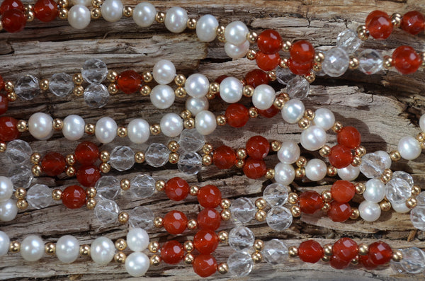 6mm Carnelian, Quartz & Pearl with Gold-Fill