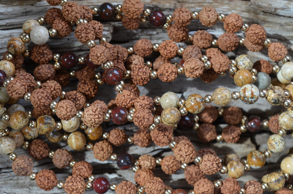 8mm Rudraksha, 6mm Jasper, Gold-Filled