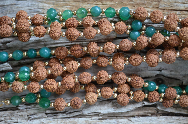 8mm Rudraksha & 6mm Aventurine with Gold-Fill
