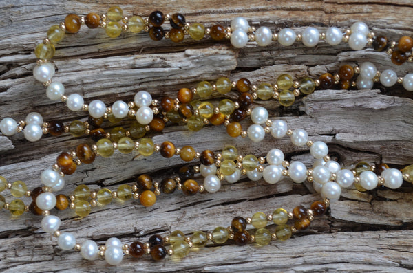 4mm Yellow Fluorite, Tigers Eye, Pearl