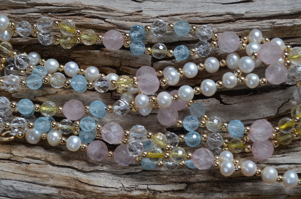 8mm Rose Quartz, 6mm Blue Topaz, Citrine, Quartz Crystal, Pearl & Gold-Fill