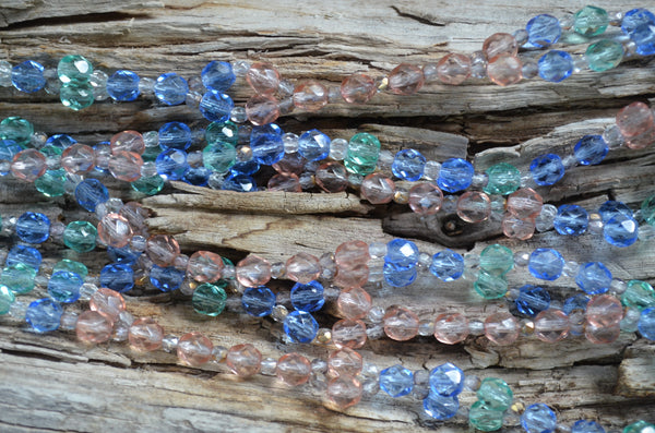 6mm Blue, Teal & Pink Fire Polished Crystal