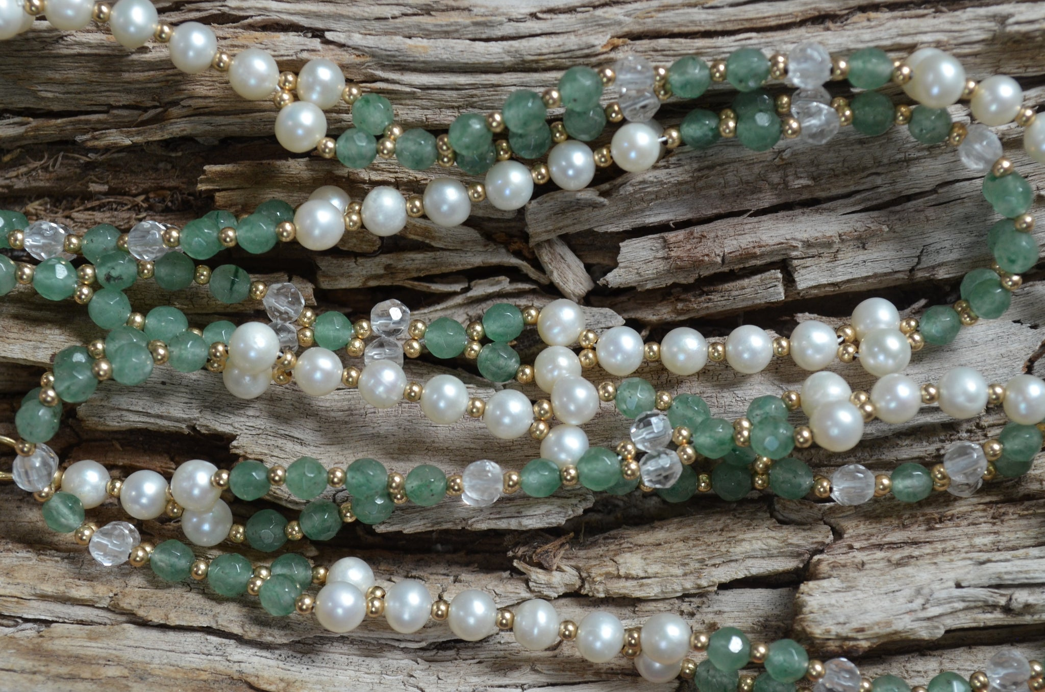 4mm Aventurine, Quartz & Pearl with Gold-Fill