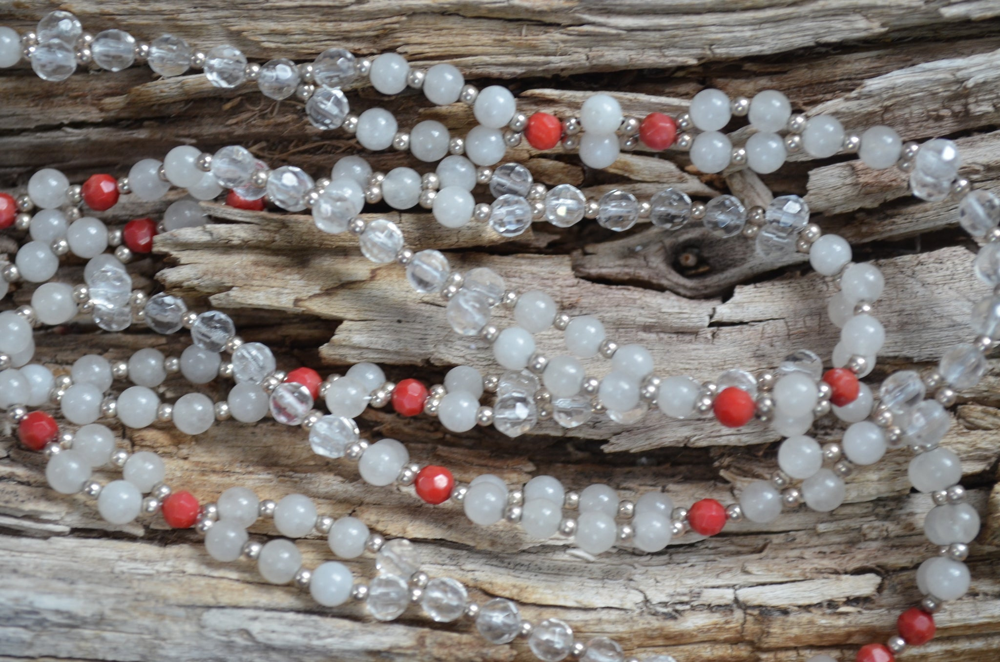 4mm Snowy Quartz, Red Coral & Quartz with Sterling Silver