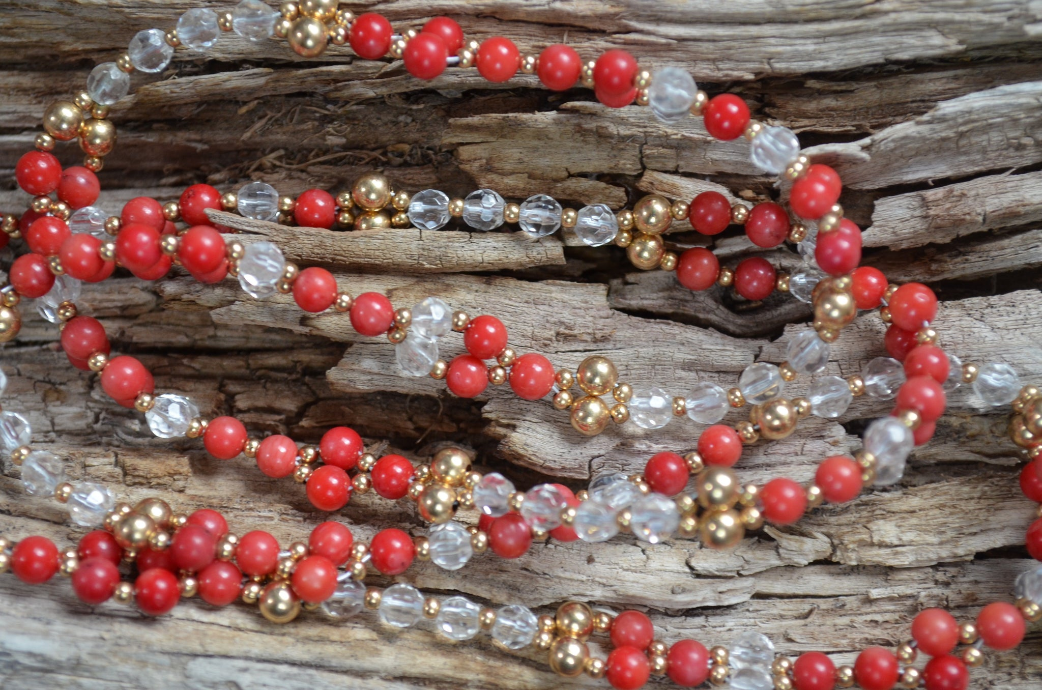 4mm Red Coral & Quartz with Gold-Fill