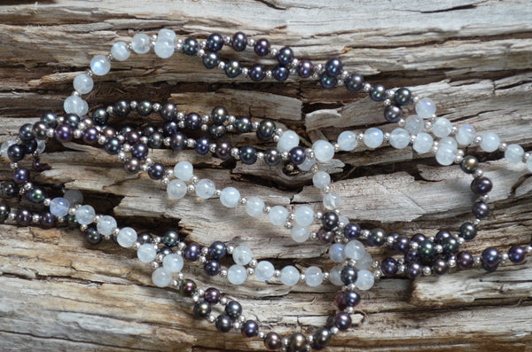 4mm Black Pearl, Moonstone, Sterling Silver