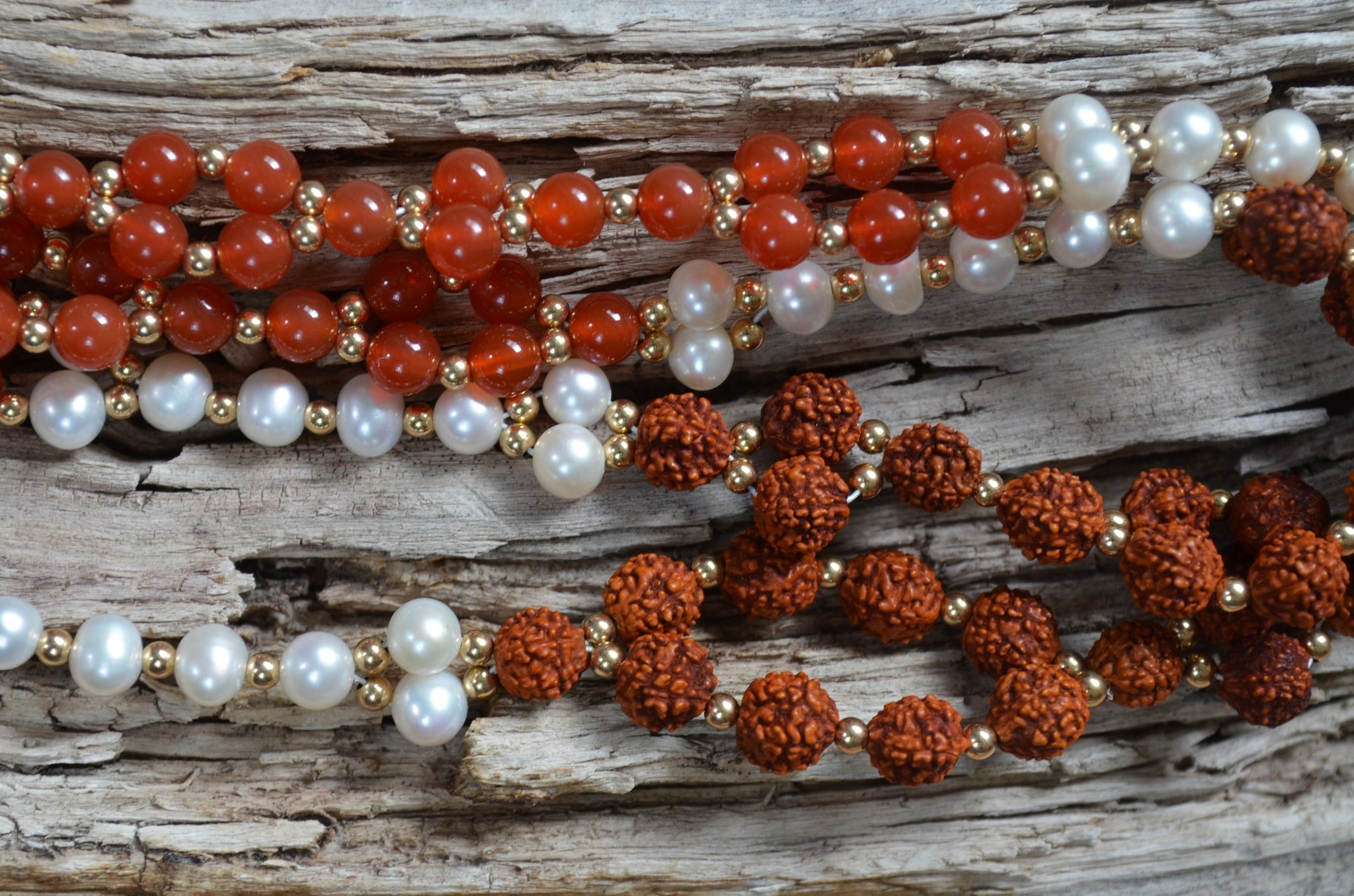 8mm Rudraksha, Carnelian, Pearl, Gold-Filled