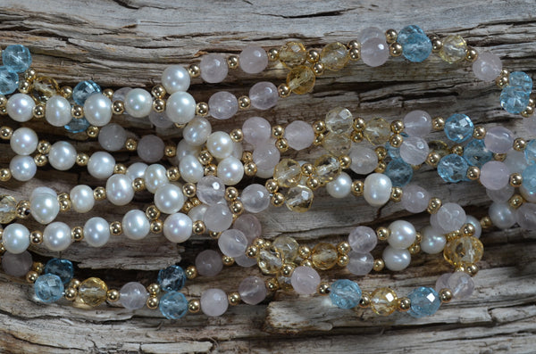 6mm Blue Topaz, Citrine, Rose Quartz  & Pearl with Gold-Fill