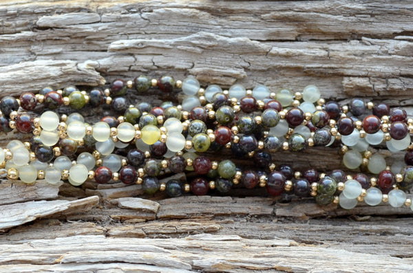 4mm Dragon Blood & Poppy Jasper, New Jade and Gold Filled