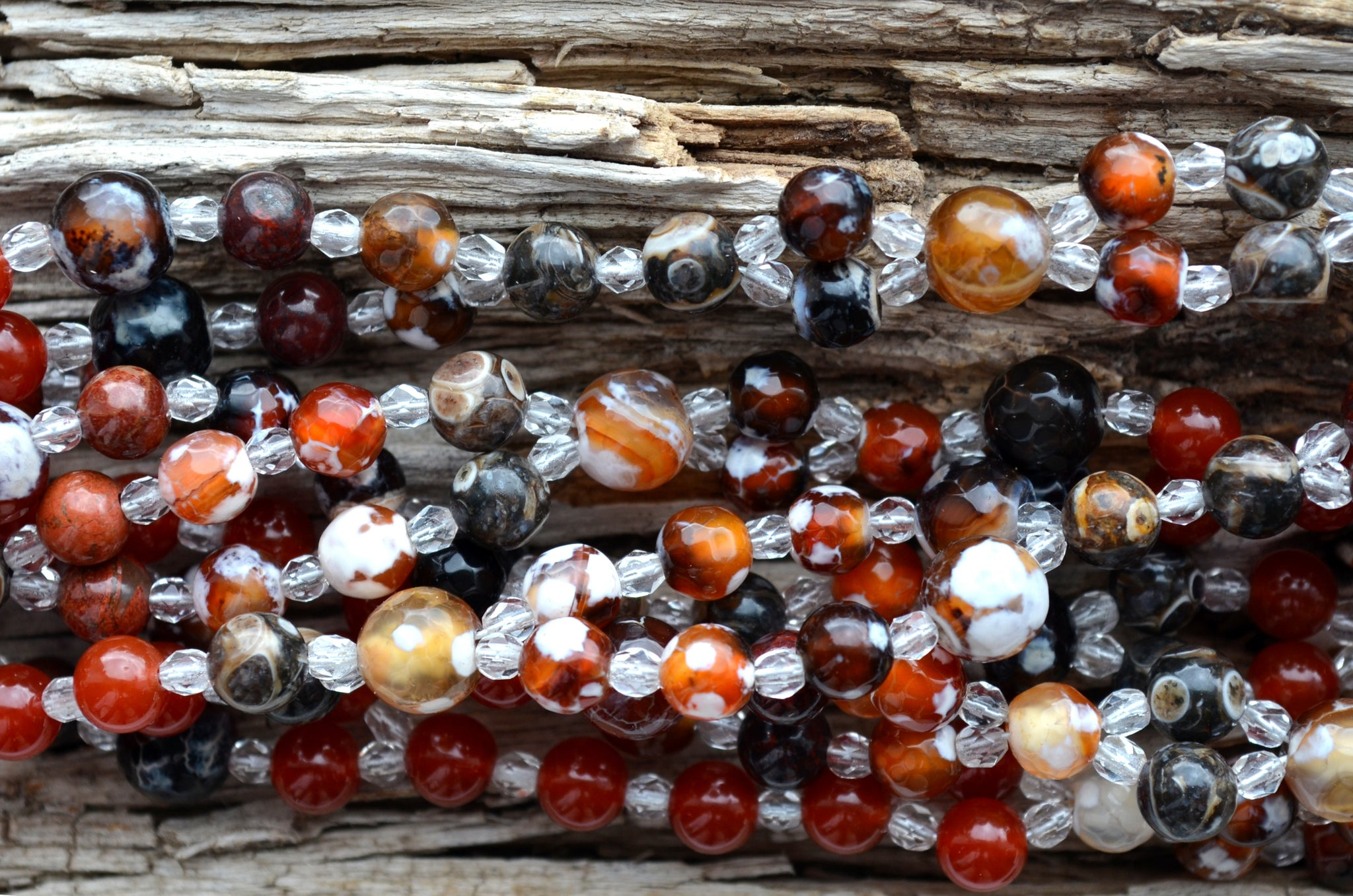 8 & 5 mm Fire Agate, 5mm Turritella Agate, 6mm Poppy Jasper, 6mm Carnelian & Crystal