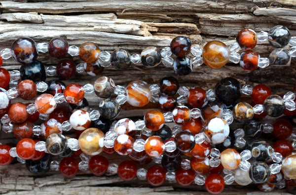 8mm Fire Agate, 5mm Fire Agate, 5mm Turritella Agate, 6mm Poppy Jasper & 6mm Carnelian with Fire Polished Crystal
