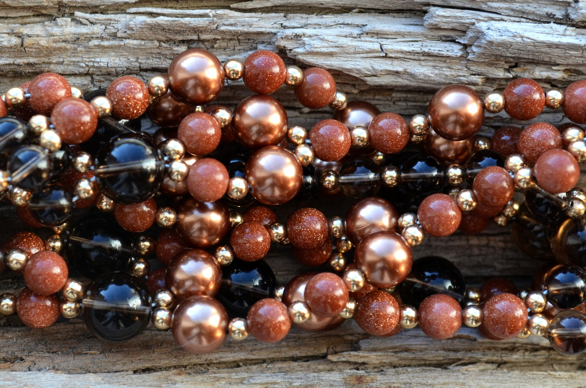 6mm Goldstone, 8mm Copper Pearls, 6 & 10mm Smoky Quartz with Gold Filled