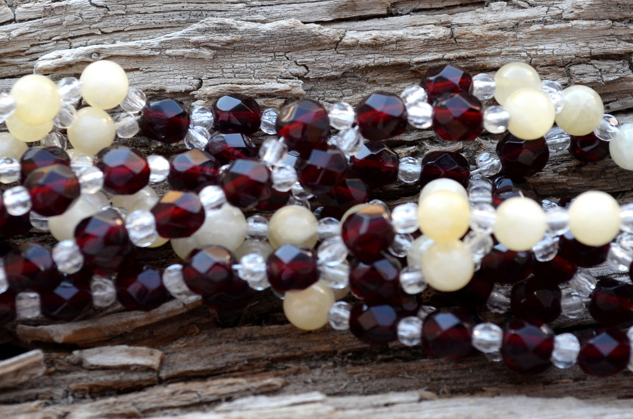 Garnet Czech Crystal and Calcite with Fire Polished Crystal