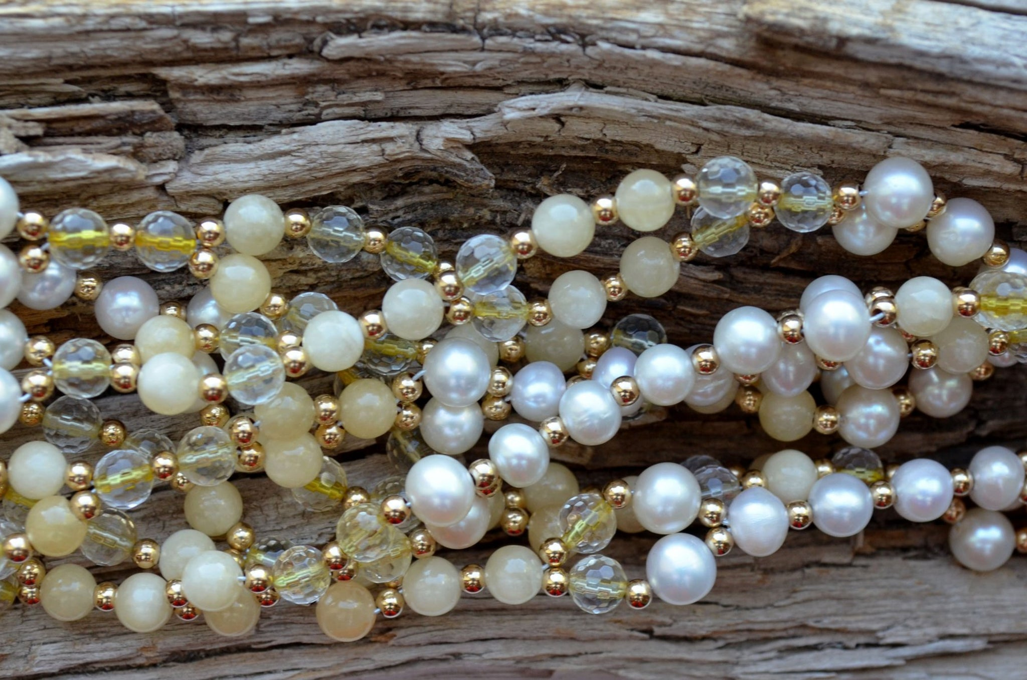 6mm Citrine Faceted, Calcite, Quartz Crystal Faceted, Pearl and Gold-Filled