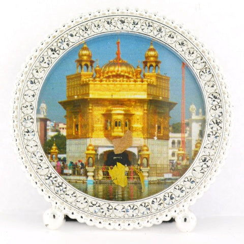 "Small Round 3 1/4"" Framed Golden Temple"