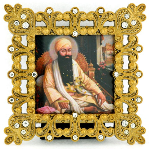 "Small Square 3 1/4"" Gold Crystal Framed Guru Ram Das"