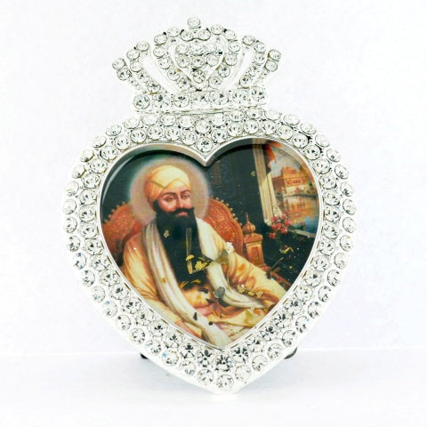 "Small Heart Shaped 3 1/4"" Framed Guru Ram Das"