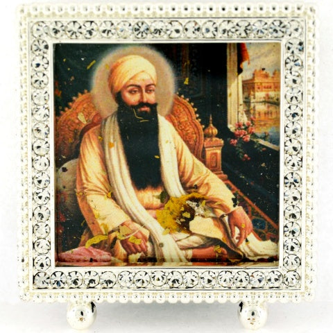 "Small Square 2 1/4"" Crystal Framed Guru Ram Das"