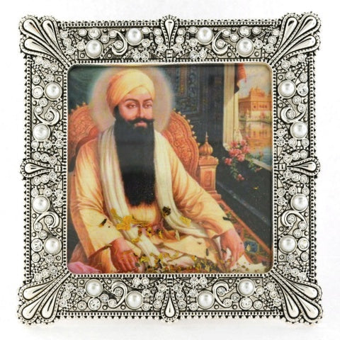 "Small Square 3 1/2"" Pearl Encrusted Framed Guru Ram Das"