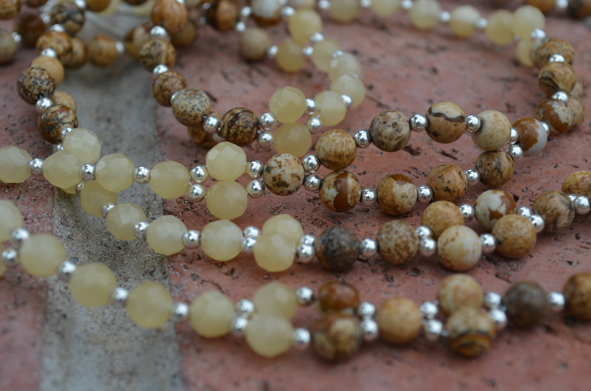 6mm Jasper, Calcite, Sterling Silver